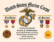 US Marine Corps Certificate of Service