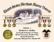 US Merchant Marine Veteran Personalized Certificate of Service with Ship