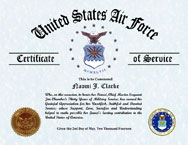 US Air Force Certificate of Appreciation