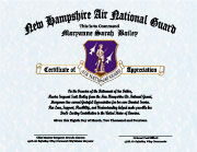 US Air National Guard Military Daughter Certificate of Appreciation