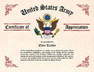 Military Wife Certificate of Appreciation
