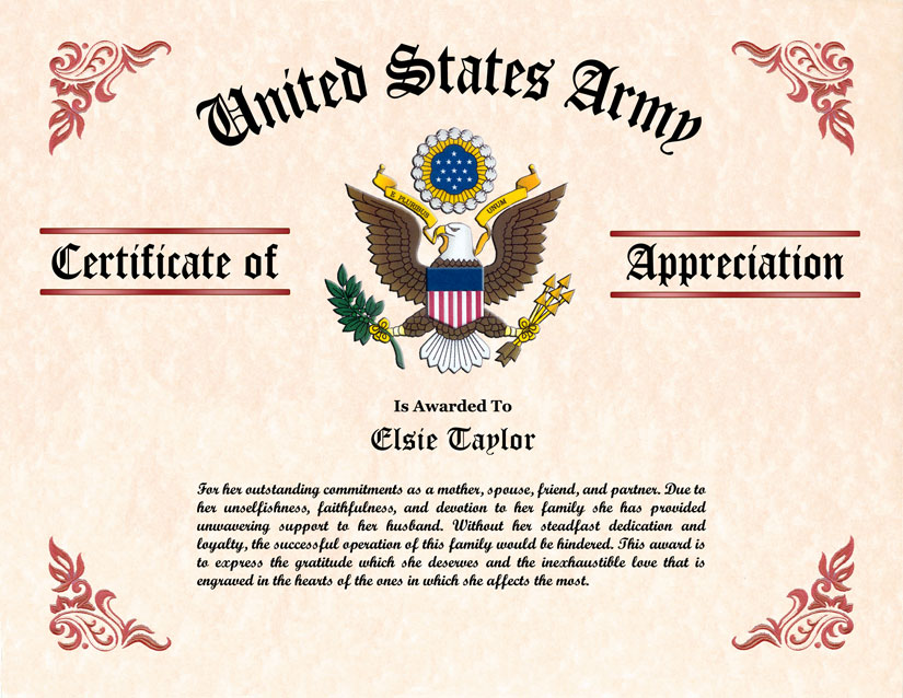 Military wife and family certificate of appreciation military wife certificate of appreciation yadclub