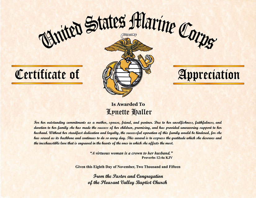 Military wife and family certificate of appreciation certificate of appreciation click on the image samples to view enlargement the delicate ornate corners can be added for any one of the services yadclub Choice Image