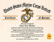 US Marine Corps Military Wife Certificate of Appreciation