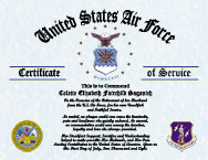 US Air Force Military Wife Certificate of Appreciation