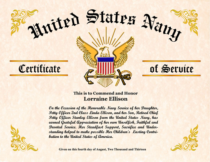 Military Wife And Family Certificate Of Appreciation