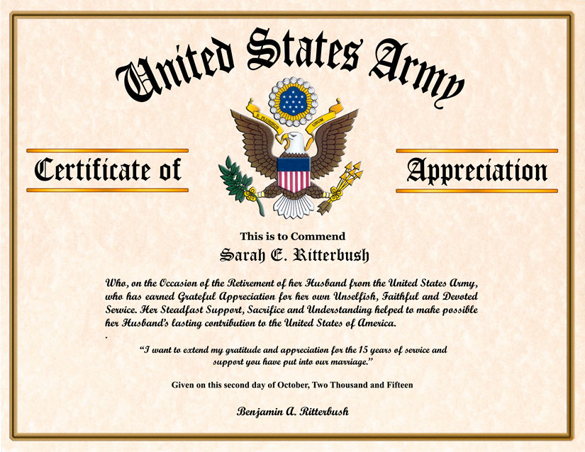 Military Wife and Family Certificate of Appreciation – Army Certificate of Appreciation Template