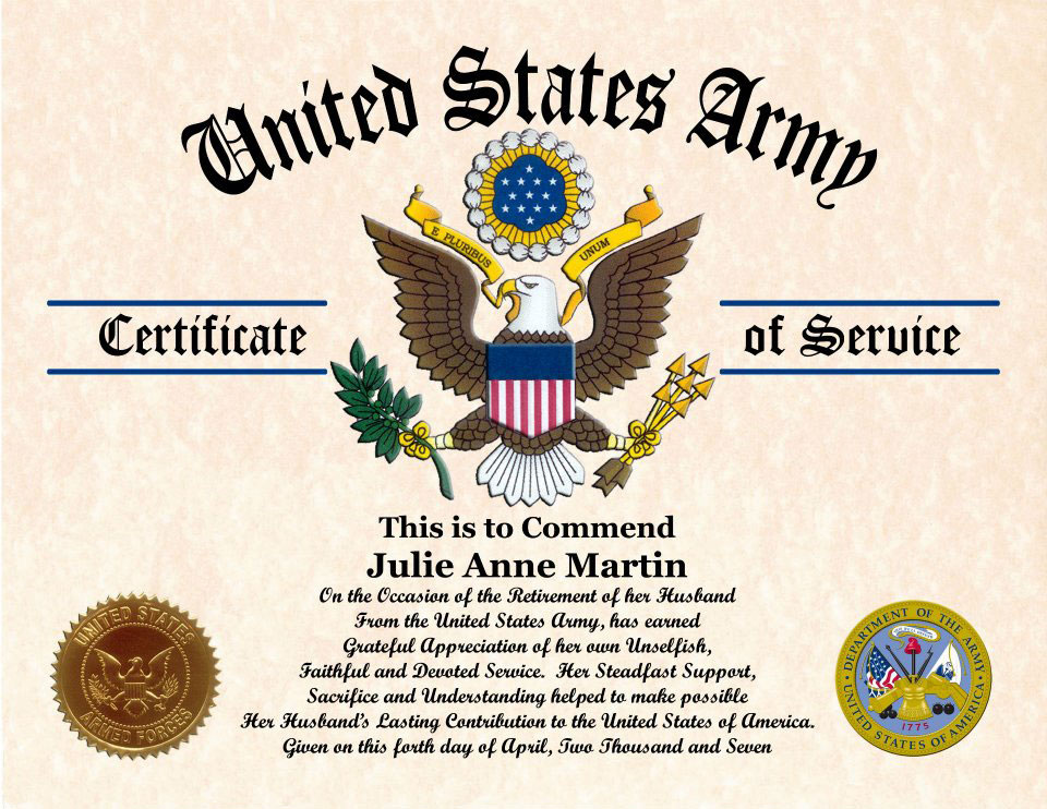 Military Wife and Family Certificate of Appreciation – Army Certificate of Appreciation