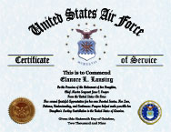US Air Force Military Mother Certificate of Appreciation