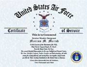 US Air Force Military Husband Certificate of Appreciation