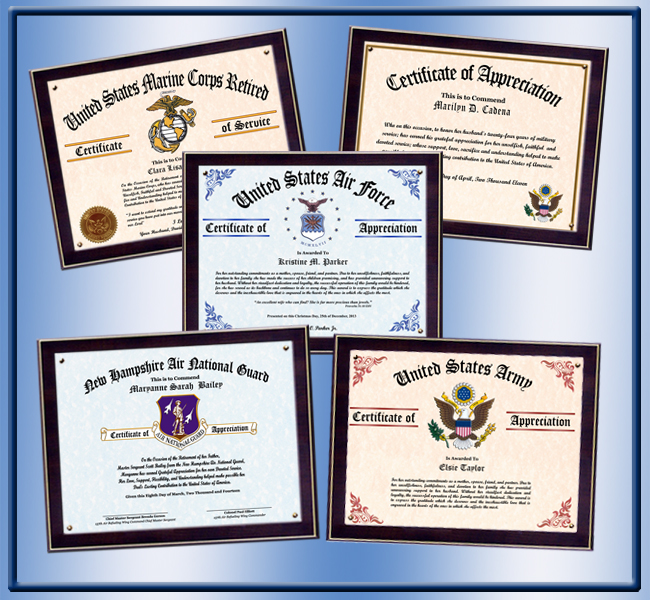 Military wife and family certificate of appreciation yadclub