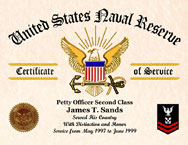 US Naval Reserve Certificate of Service