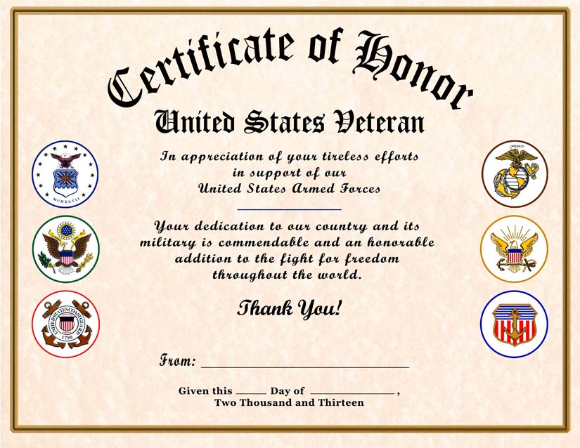 It's just a photo of Free Printable Veterans Certificate of Appreciation throughout military spouse appreciation